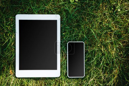 elevated view of tablet and smartphone with blank screens on green grass in park