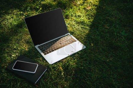 Photo pour Smartphone et ordinateur portable avec écran blanc sur l'herbe verte dans le parc - image libre de droit