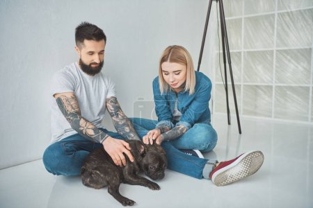 happy young couple sitting and playing with french bulldog in new house