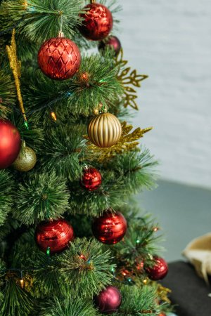 close-up shot of beautiful decorated christmas tree