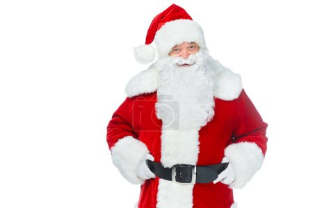 bearded santa claus posing isolated on white