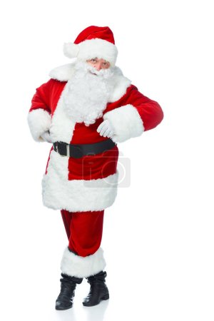 happy santa claus posing at christmastime isolated on white