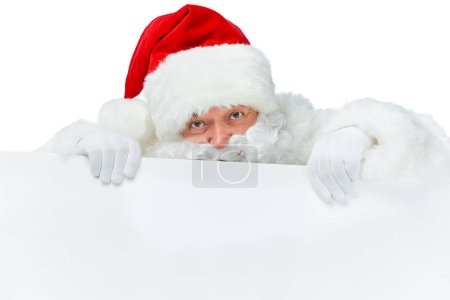 santa claus with blank placard isolated on white
