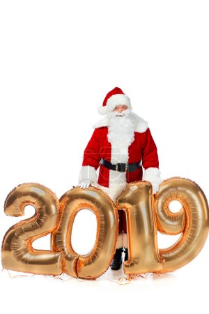 santa claus in red costume posing with new year 2019 golden balloons isolated on white