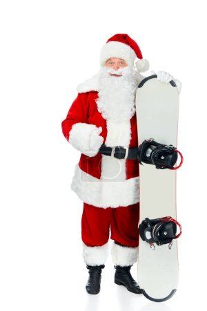 Santa claus with snowboard showing thumb up isolated on white