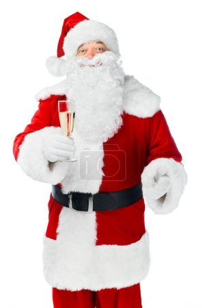 santa claus celebrating christmas with champagne glass isolated on white