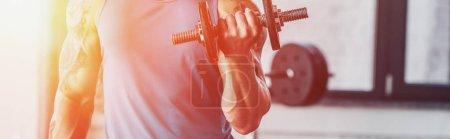 Photo pour Vue partielle du sportif faisant de l'exercice avec haltère au gymnase au soleil - image libre de droit