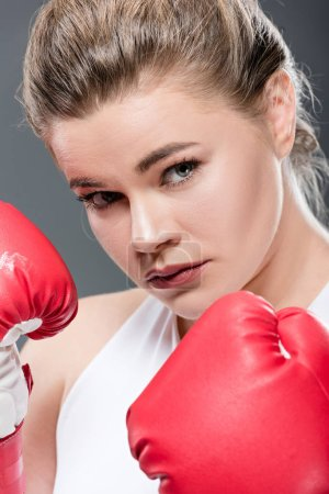 close-up view of young oversize woman in boxing gloves looking at camera isolated on grey