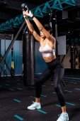 Attractive sportive girl squatting with dumbbells in sports gym