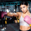 Attractive boxer girl in boxing gloves throwing punches in gym