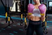 """Постер, картина, фотообои """"Частичный вид женской боксер в розовые Перчатки боксерские практикующих бокса в тренажерном зале"""""""