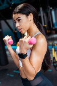 Attractive Strong girl working out with dumbbells in fitness gym