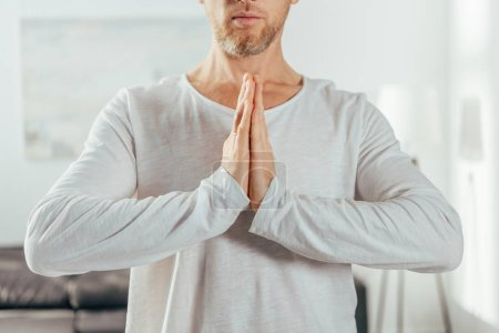 cropped shot of adult man standing with namaste gesture while practicing yoga at home