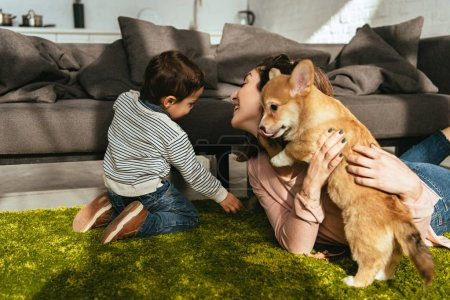 woman and her little son playing adorable welsh corgi pembroke on floor at home