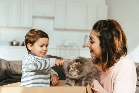 little boy pointing by finger at british longhair cat in mother hands