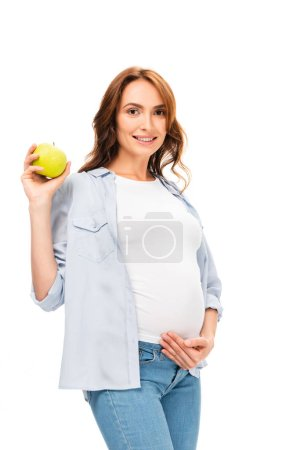 Photo for Beautiful healthy mother smiling and holding green apple isolated on white - Royalty Free Image