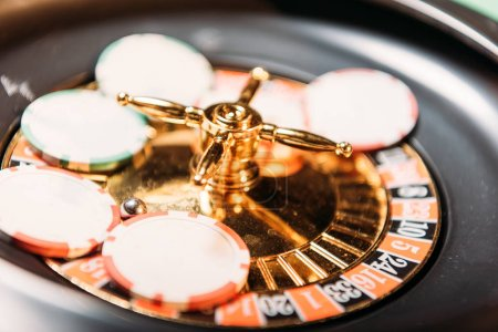 selective focus of roulette and casino chips in casino