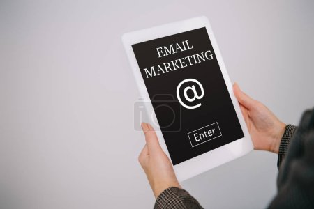 Photo for Cropped view on businesswoman using digital tablet with email marketing isolated on grey - Royalty Free Image