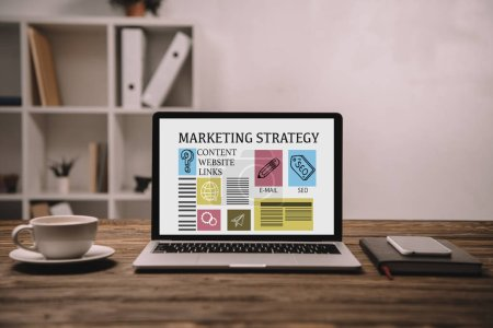 laptop with marketing strategy, smartphone and cup of coffee on wooden table
