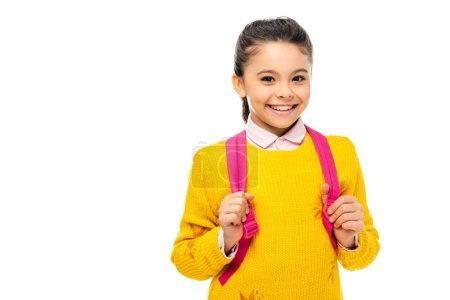 Photo for Adorable child with backpack looking at camera and smiling isolated on white - Royalty Free Image