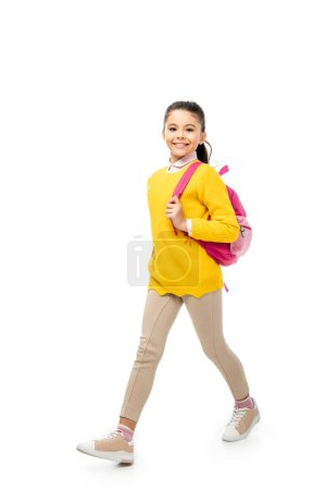 Photo pour Adorable enfant marche et souriant à la caméra isolé sur blanc - image libre de droit