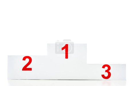 winner podium with red numbers isolated on white