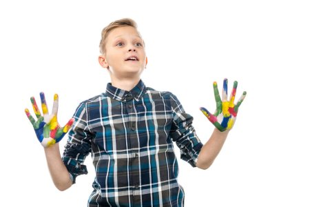 Photo for Surprised boy with hands painted in colorful paints isolated on white - Royalty Free Image