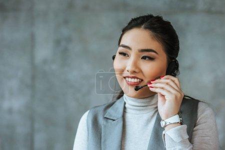 beautiful smiling call center operator