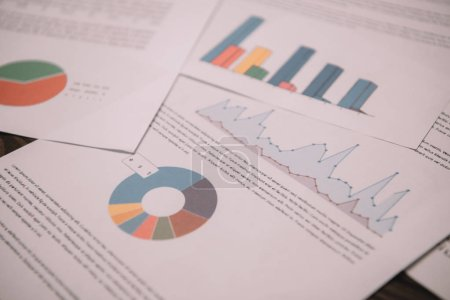 close up of business documents with graphs and charts for strategy