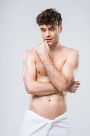 Photo for Handsome shirtless thoughtful man isolated on grey - Royalty Free Image