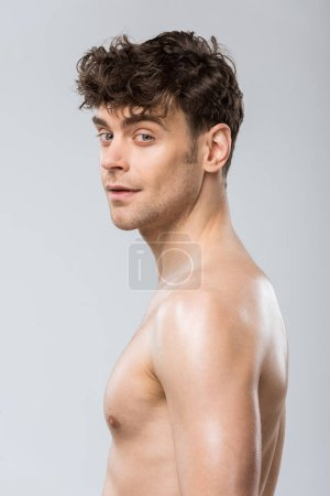 Photo for Portrait of handsome young brunette man isolated on grey - Royalty Free Image