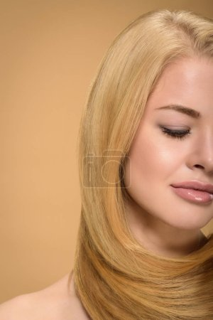 Photo for Partial view of sensual blonde girl posing with eyes closed - Royalty Free Image