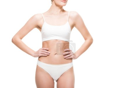 cropped shot of young slim woman in underwear standing with hands on waist isolated on white