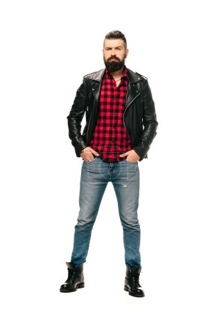 Photo for Handsome rocker posing in black leather jacket isolated on white - Royalty Free Image
