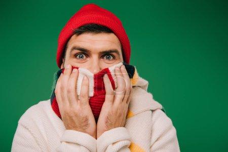 Photo pour Homme barbu effrayé dans le chapeau et l'écharpe isolé sur vert - image libre de droit