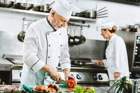 Photo for Selective focus of male and female chefs in uniform preparing food in restaurant kitchen - Royalty Free Image