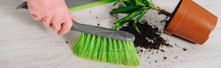 Photo for Cropped view of woman sweeping floor with brush - Royalty Free Image