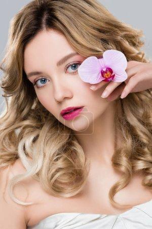 junge elegante Frau hält lila Orchidee isoliert auf grau