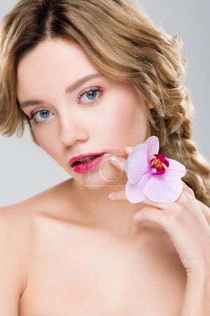 junge zarte nackte Frau mit lila Orchidee isoliert auf grau
