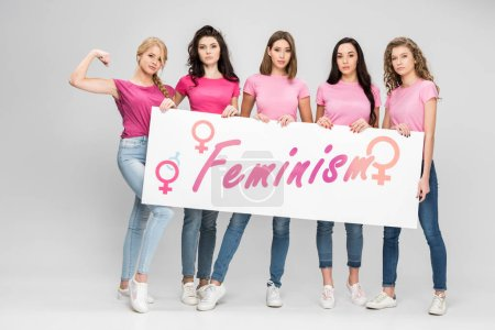 Photo pour Serious girls holding large sign with feminism lettering on grey background - image libre de droit
