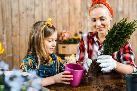 Photo pour Belle mère transplanter la plante verte en pot près de fille mignonne - image libre de droit