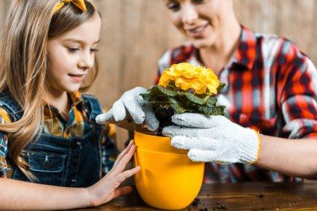 Photo pour Mise au point sélective de joyeux enfant regardant pot près de mère repiquage des fleurs - image libre de droit