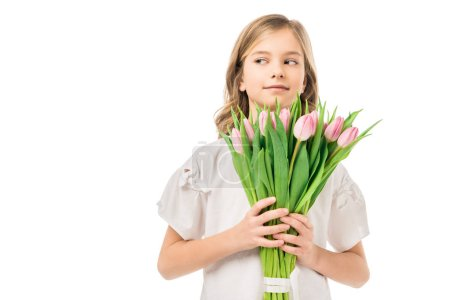 Photo for Cute child holding beautiful bouquet of pink flowers isolated on white - Royalty Free Image