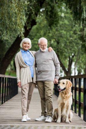 Photo pour Heureux couple de personnes âgées embrassant tout en marchant avec chien amical dans le parc - image libre de droit
