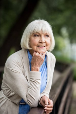 Photo for Selective focus of senior woman leaning on wooden bridge railing and looking away - Royalty Free Image