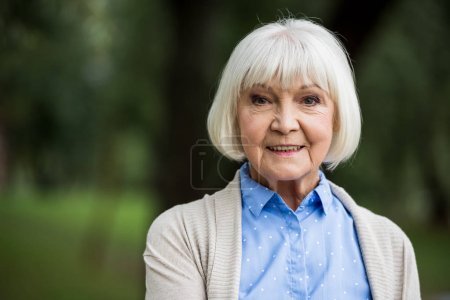 Photo pour Femme âgée souriante en chemisier à pois bleus - image libre de droit