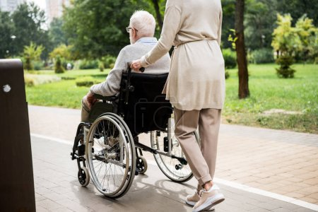 Photo for Partial view of senior woman carrying husband in wheelchair while walking in park - Royalty Free Image