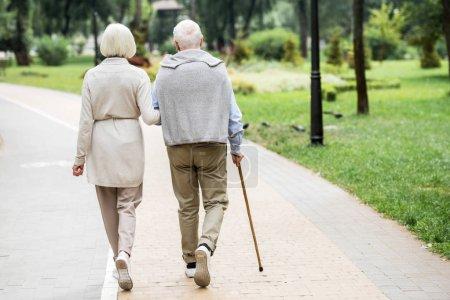 Photo pour Vue arrière du couple de personnes âgées marchant dans le parc - image libre de droit