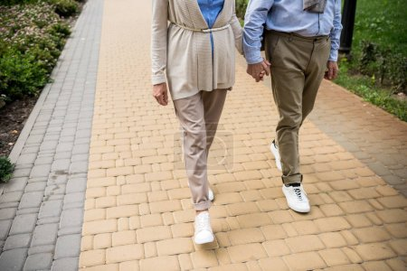 Photo for Partial view of senior couple walking across paved sidewalk in park - Royalty Free Image