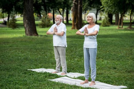 Photo for Happy senior couple standing on yoga mats in meditation sukhasana standing poses with folded hands - Royalty Free Image